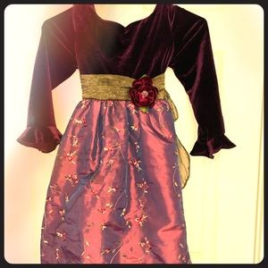 Plum purple dress with embroidered flowers